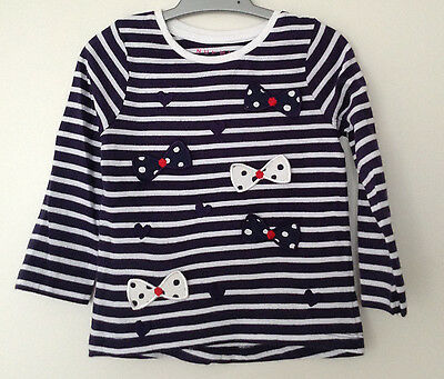 NEW Baby Girls Long Sleeve Bow Detail Top Age 12-18, 18-24 Months