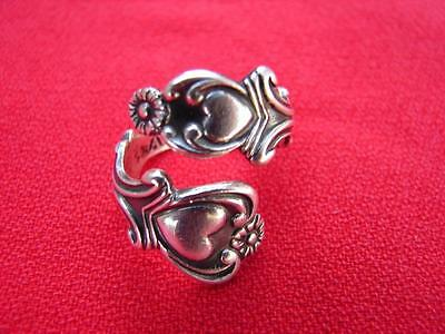 AVON Sterling Silver Treasured Hearts Spoon Bypass Ring Wrap Ring Adjustable