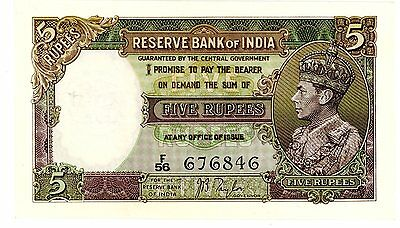 India … P-18a … 5 Rupees … ND(1937) … *XF+*
