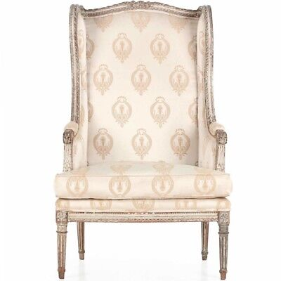 Gorgeous French Louis XVI Distressed Painted Wingback Arm Chair, 19th Century