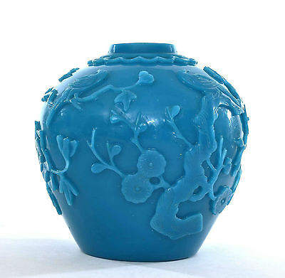 Early 20C Chinese Blue Peking Glass Tea Caddy Jar Vase Plum Blossom Bird