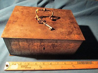 Steel Money Box   With Key  -  18Th C Entury ??  -  #2