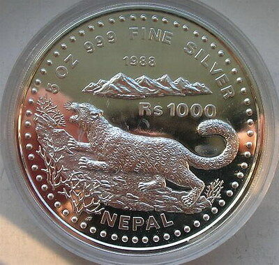 Nepal 1988 Snow Leopard 1000 Rupees 5oz Silver Coin,Proof