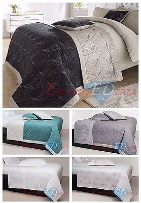 LUXURY COTTON 3 Piece Quilted Reversible Embroidered Bedspreads - Various Sizes