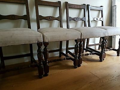 4 antique Edwardian? chairs sprung reupholstered