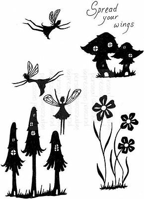 Lindsay Mason Clear Stamps FAIRY MUSHROOMS - fantasy fairies - 5 piece stamp set