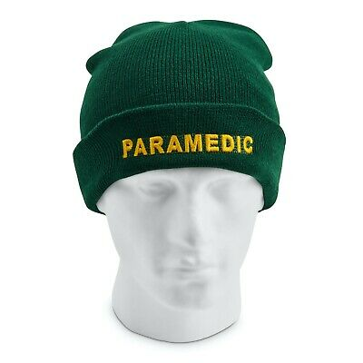 PARAMEDIC Beanie / Woolly Hat (GREEN) for Ambulance Medic 999 Emergency St John