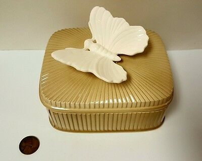 Rare Vintage FF Fitz And Floyd Butterfly Porcelain Trinket Box