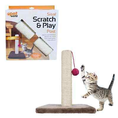 Cat Scratching post pole with catnip filled ball ideal house training kitten toy