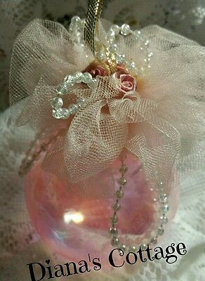 Shabby Pink Irredesent Christmas Ornament