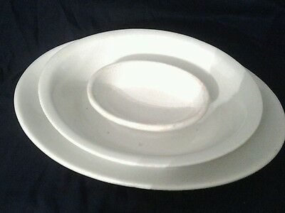 LOT of 3: White Ironstone China: Greenwood, USA mark  and Unmarked Oblong Pieces