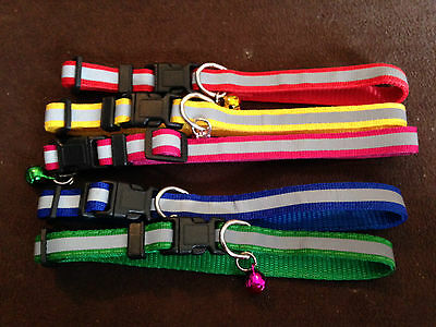 Reflective Cat Dog Puppy Collar with bell COLOUR SELECTION red yellow black etc
