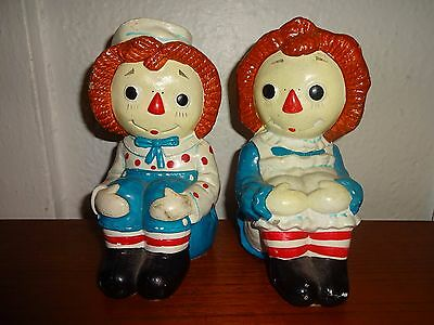 1978 Bobbs Merrill Determined Productions Raggedy Ann & Andy Bookends Ceramic