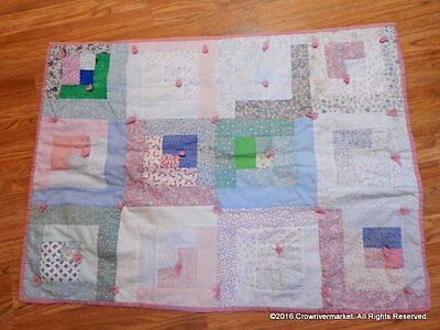 Handmade Girls Patchwork Pastel Colors Baby Crib Quilt 40x30