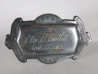 Antique Silverplated Coffin Plate - Late 19Th C.~ 72 Year Old Man~ Casket Plaque