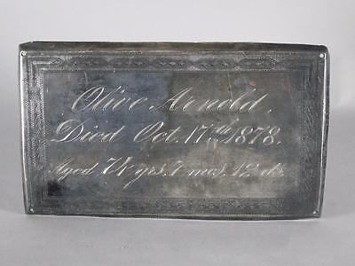 """ANTIQUE SILVERPLATED COFFIN PLATE c.1878 ~74 YEAR OLD WOMAN NAMED """"OLIVE ARNOLD"""""""