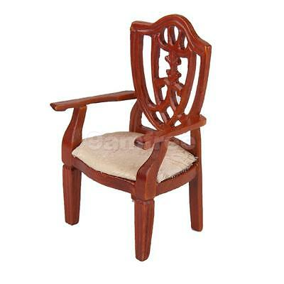 Dollhouse Furniture Miniature Living Room Wooden Arm Chair Armchair 12th Scale