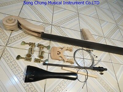 Upright Bass part:neck with fingerboard,bridge,tailpiece,French style pegs 3/4