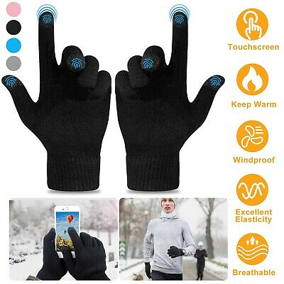 Knit Touch Screen Gloves Soft Winter Men Women Texting Active For Smart Phone