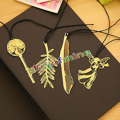 4pcs Gold Plated Hollow Animal Feather Bookmarks Book Magazine Accessories