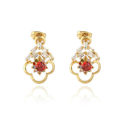 Womens Jewelry Vintage 14K Gold Plated Charm Ruby Elegant Hollow Stud Earrings