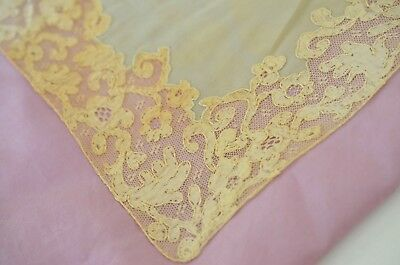 Antique But Worn Silk Handkerchief Doily With Brussels Lace Border Ss117