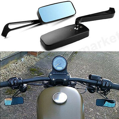 Black Rectangle Motorcycle Rear View Side Mirrors Universal 8Mm 10Mm Motorbike