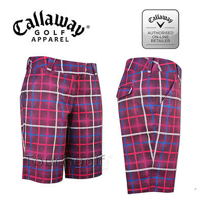 "Callaway Women/Ladies Golf Shorts 10"" Railroad Check Print Shorts-CGBF4036-New."