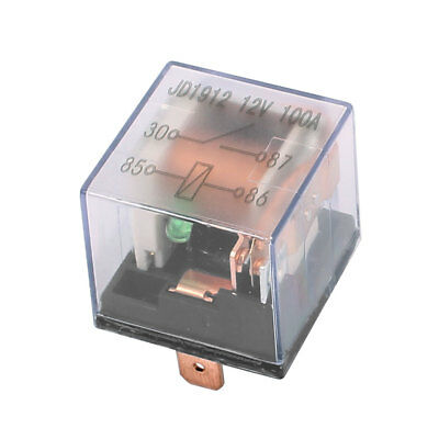 JD1912 12V 100A 4 Pin SPDT Power Relay w LED Light Colorless Shell