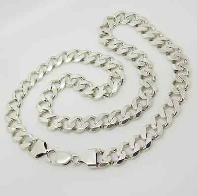 "Solid Sterling Silver 22"" Heavy Curb Link Chain 87g"