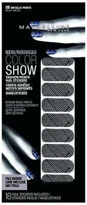 Maybelline Fashion Print Nail Stickers - Heavy Metal - Silver