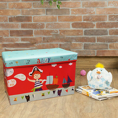 Kids Large Pirate Storage Toy Box Boys Girls Books Chest Trunk Diy Xmas Gift