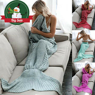 Mermaid Tail Air-condition Blanket Handmade Crocheted Cocoon Sofa Quilt Rug Knit