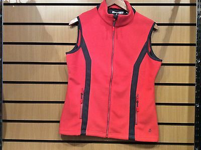 Ladies Greenlamb wind barrier golfing gilet, Coral, size 14.