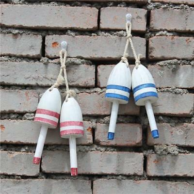 1 Pair Coastal Hand Carved Hanging Buoy Wood Floater Wall Sculpture Decor 2Color