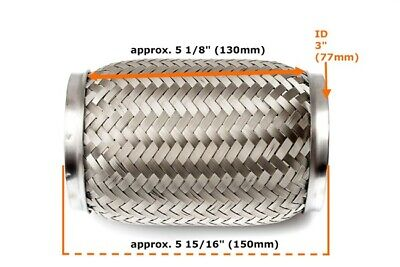"""Universal 3"""" Front Exhaust Flex Pipe Tube Stainless Steel Mesh 76x150mm/130mm"""