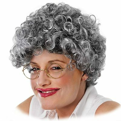 Adult Granny Wig Grey Afro Old Lady Perm Grandma Fancy Dress Costume Accessory