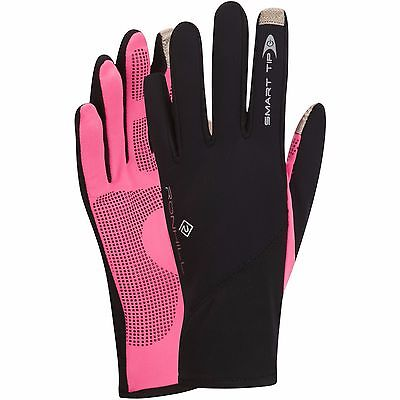 100041 Ronhill Sirocco Windproof Smart-Tip Running Gloves - Black/Pink