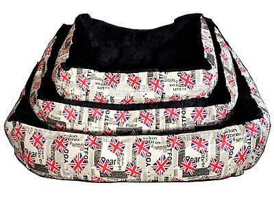 London Deluxe Soft Washable Dog Pet Warm Basket Bed Cushion with Fleece Lining