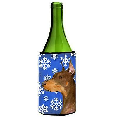 Carolines Treasures Doberman Winter Snowflakes Holiday Wine bottle sleeve Hugger