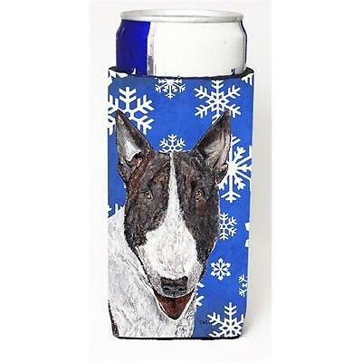 Bull Terrier Blue Snowflake Winter Michelob Ultra bottle sleeves For Slim Can...