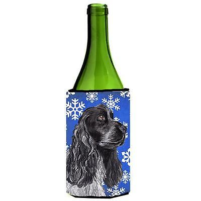 Cocker Spaniel Blue Snowflake Winter Wine bottle sleeve Hugger 24 oz.