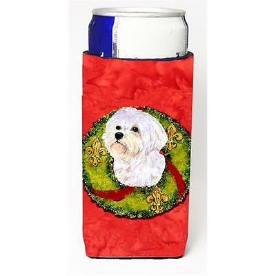 Maltese Christmas Wreath Michelob Ultra bottle sleeves For Slim Cans 12 oz.