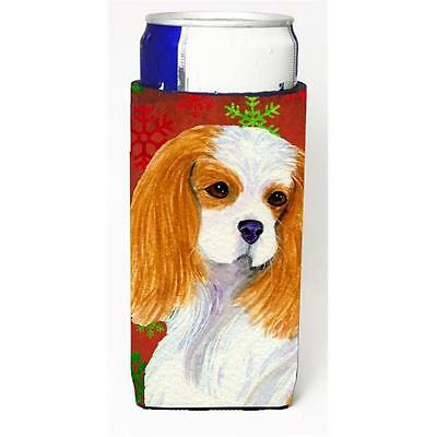 Cavalier Spaniel Red And Green Snowflakes Holiday Christmas Michelob Ultra bo...