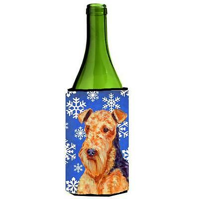 Airedale Winter Snowflakes Holiday Wine bottle sleeve Hugger 24 oz.