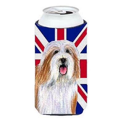 Bearded Collie With English Union Jack British Flag Tall Boy bottle sleeve Hu...
