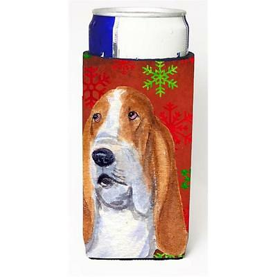 Basset Hound Red And Green Snowflakes Holiday Christmas Michelob Ultra bottle...