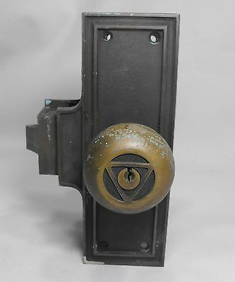 Antique Corbin Bronze/brass Door Lock Set From Nj Public Service Bldg. 1903