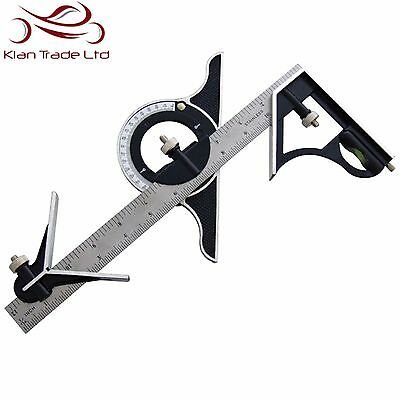"12"" 300Mm Combination Square Protractor Lever Adjustable Measure Measuring Set"