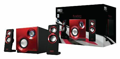 Sweex Speaker 2.1 Wired 3.5 mm 60 W Red FOR COMPUTER MP3 CD PLAYER ETC Bass BOX
